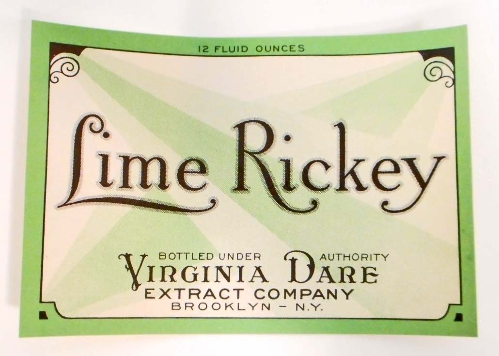 VINTAGE LIME RICKEY SODA ADVERTISING BOTTLE LABEL