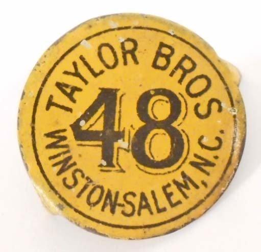 VINTAGE TAYLOR BROS. 48 METAL TOBACCO TAG