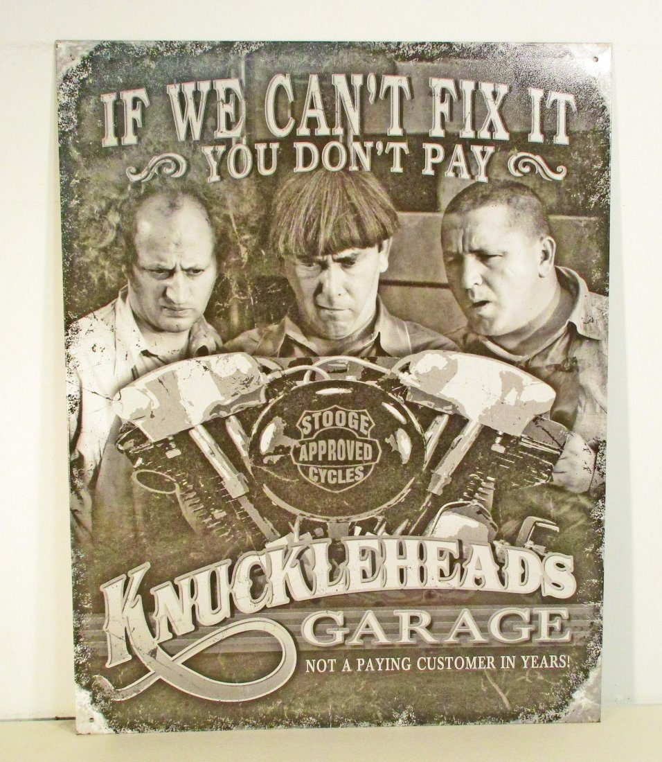 THREE STOOGES KNUCKLEHEADS GARAGE FUNNY METAL SIGN