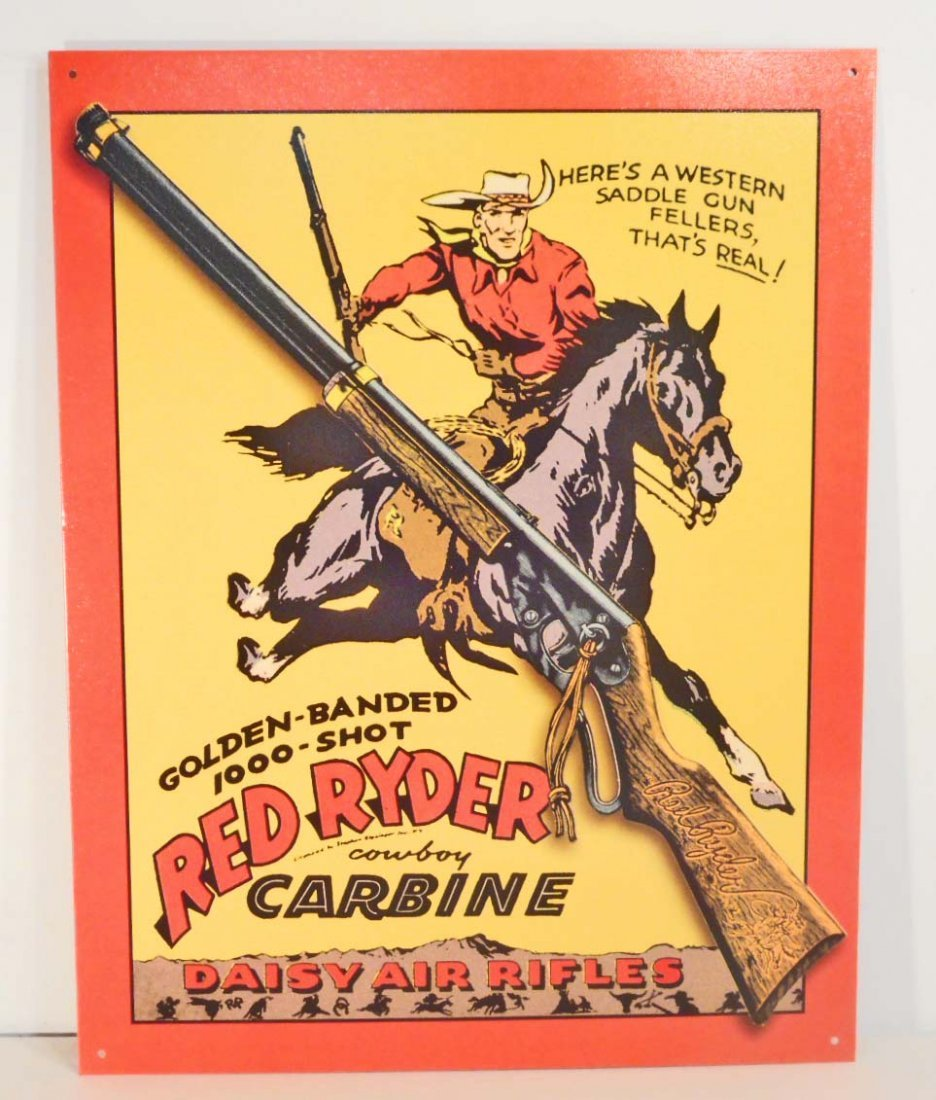DAISY RED RYDER AIR RIFLES METAL ADVERTISING SIGN -