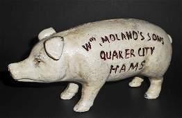 QUAKER CITY HAMS FIGURAL PIG ADVERTISING BANK  75