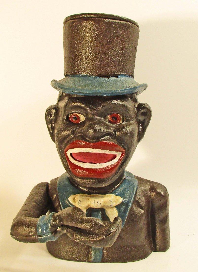 BLACK AMERICANA MAN IN TOPHAT MECHANICAL BANK