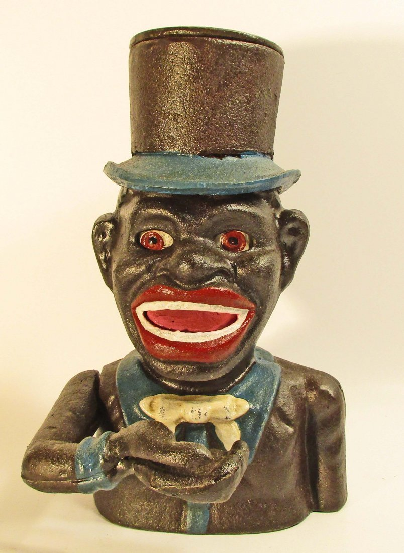 BLACK AMERICANA MAN IN TOPHAT MECHANICAL BANK