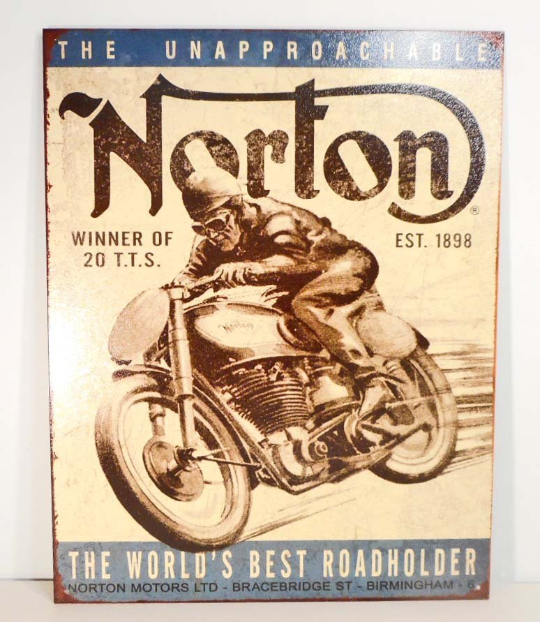 NORTON MOTORCYCLES METAL ADVERTISING SIGN - 12.5X16