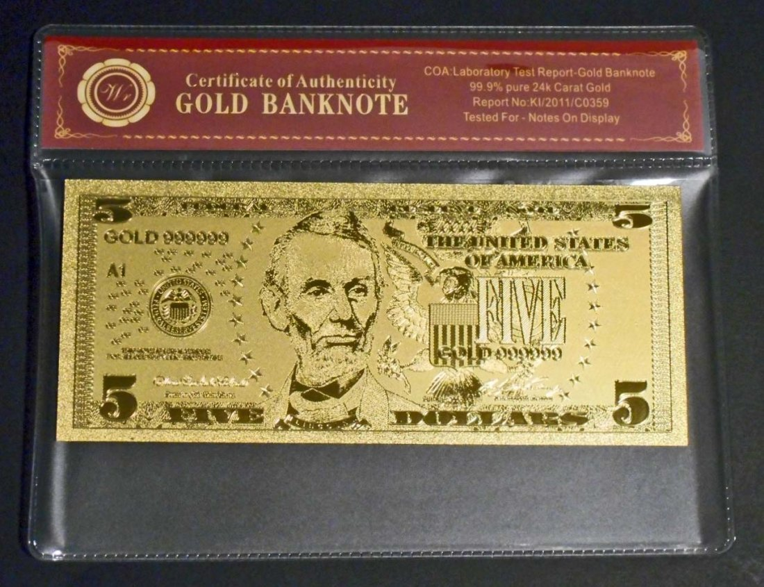99.9% 24KT GOLD ABRAHAM LINCOLN $5 GOLD BANKNOTE W/ COA