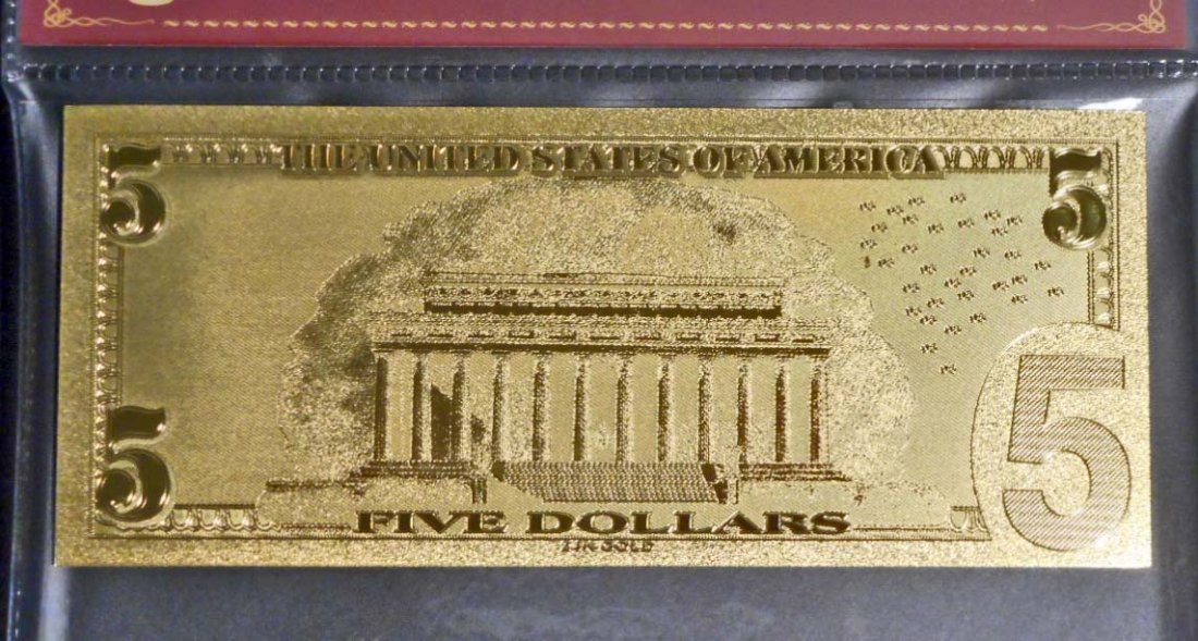 99.9% 24KT GOLD ABRAHAM LINCOLN $5 GOLD BANKNOTE W/ COA - 2