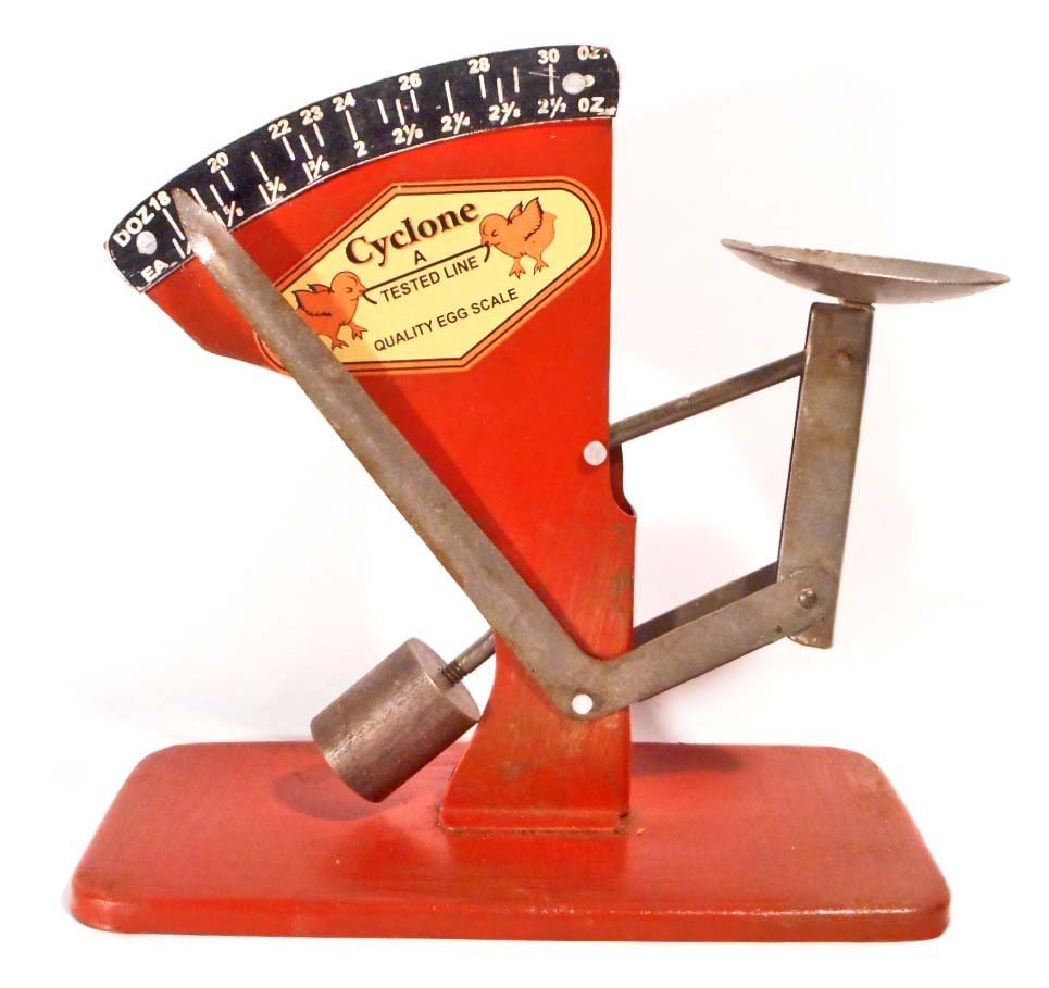 CYCLONE METAL ADVERTISING EGG SCALE