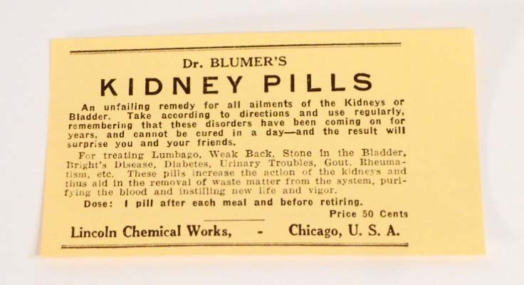 VINTAGE DR BLUMERS KIDNEY PILLS ADVERTISING LABEL