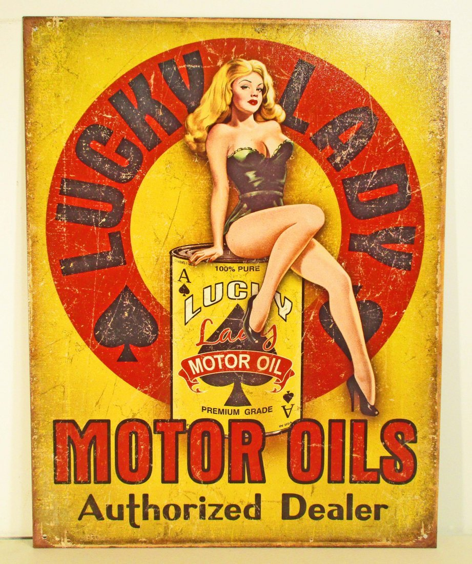 LUCKY LADY MOTOR OIL PIN UP GIRL ADVERTISING METAL SIGN