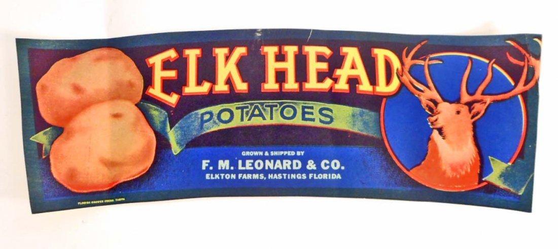 VINTAGE ELK HEAD POTATOES ADVERTISING CRATE LABEL