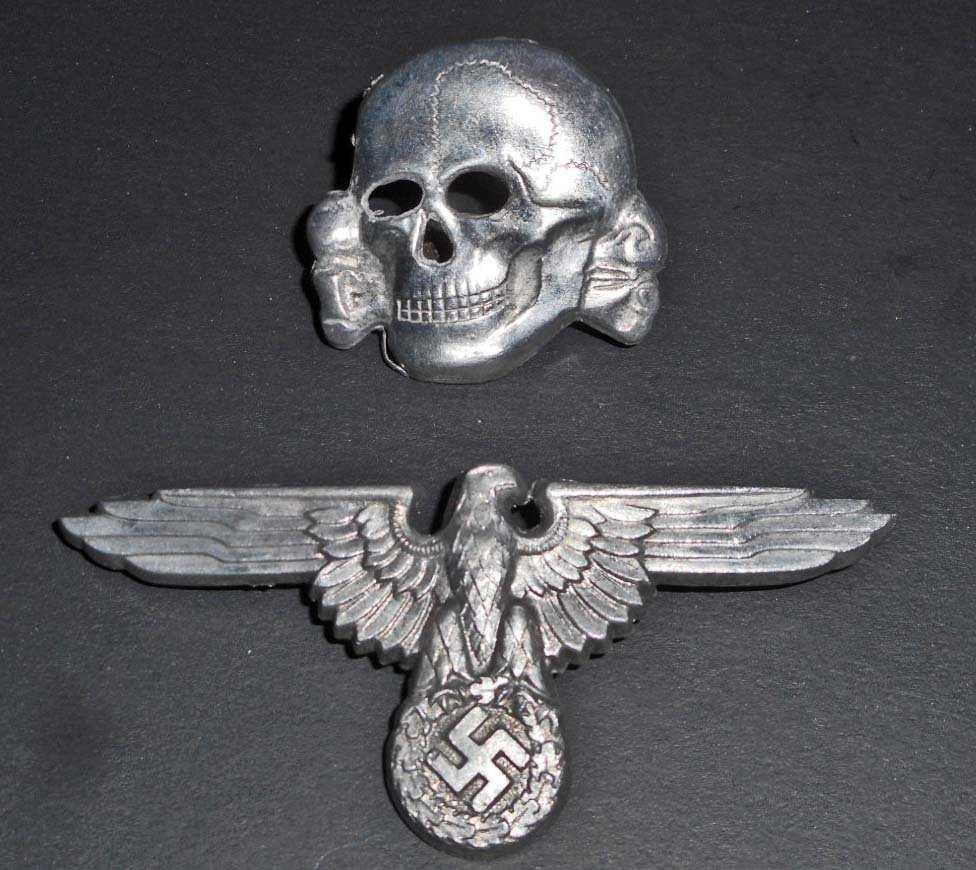 16c1c9d9ecb GERMAN NAZI WAFFEN SS OFFICERS VISOR CAP EAGLE   SKULL