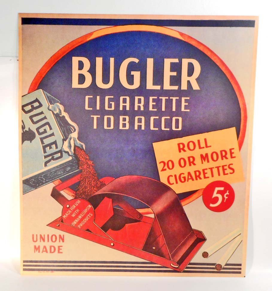 "BUGLER CIGARETTE TOBACCO ADVERTISING SIGN - 15""X17"""