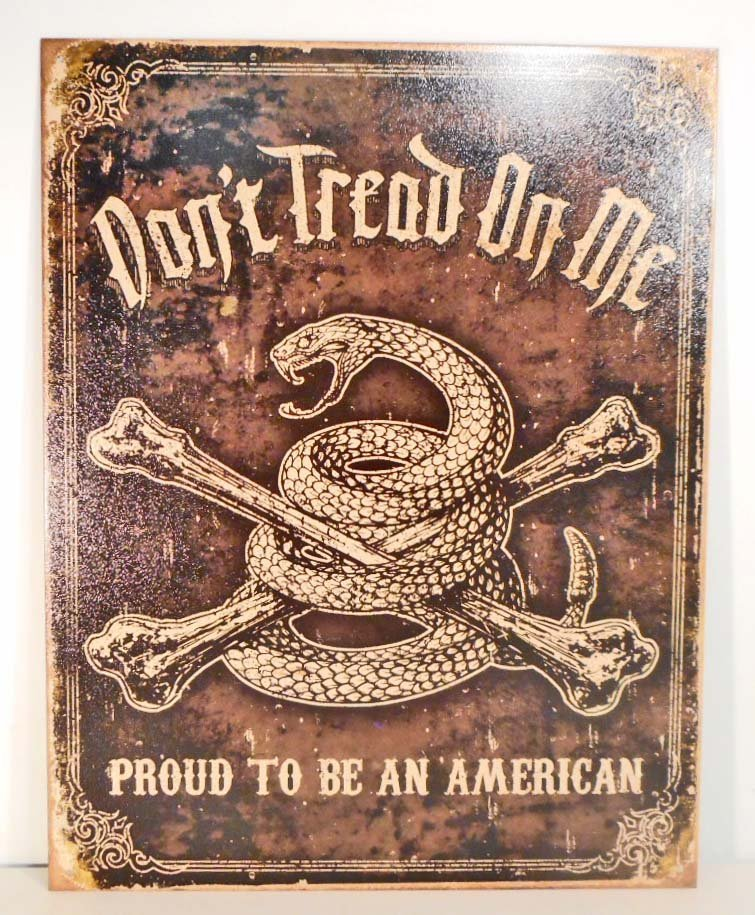DONT TREAD ON ME METAL ADVERTISING SIGN - 12.5X16
