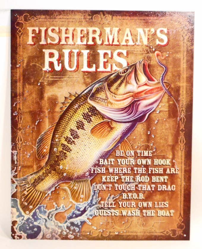 FISHERMANS RULES METAL SIGN - 12.5X16