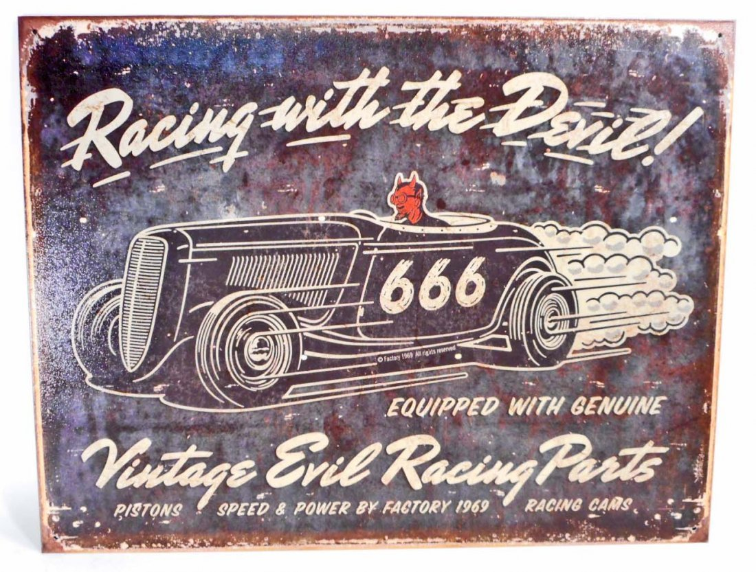 RACING WITH THE DEVIL METAL ADVERTISING SIGN - 12.5X16
