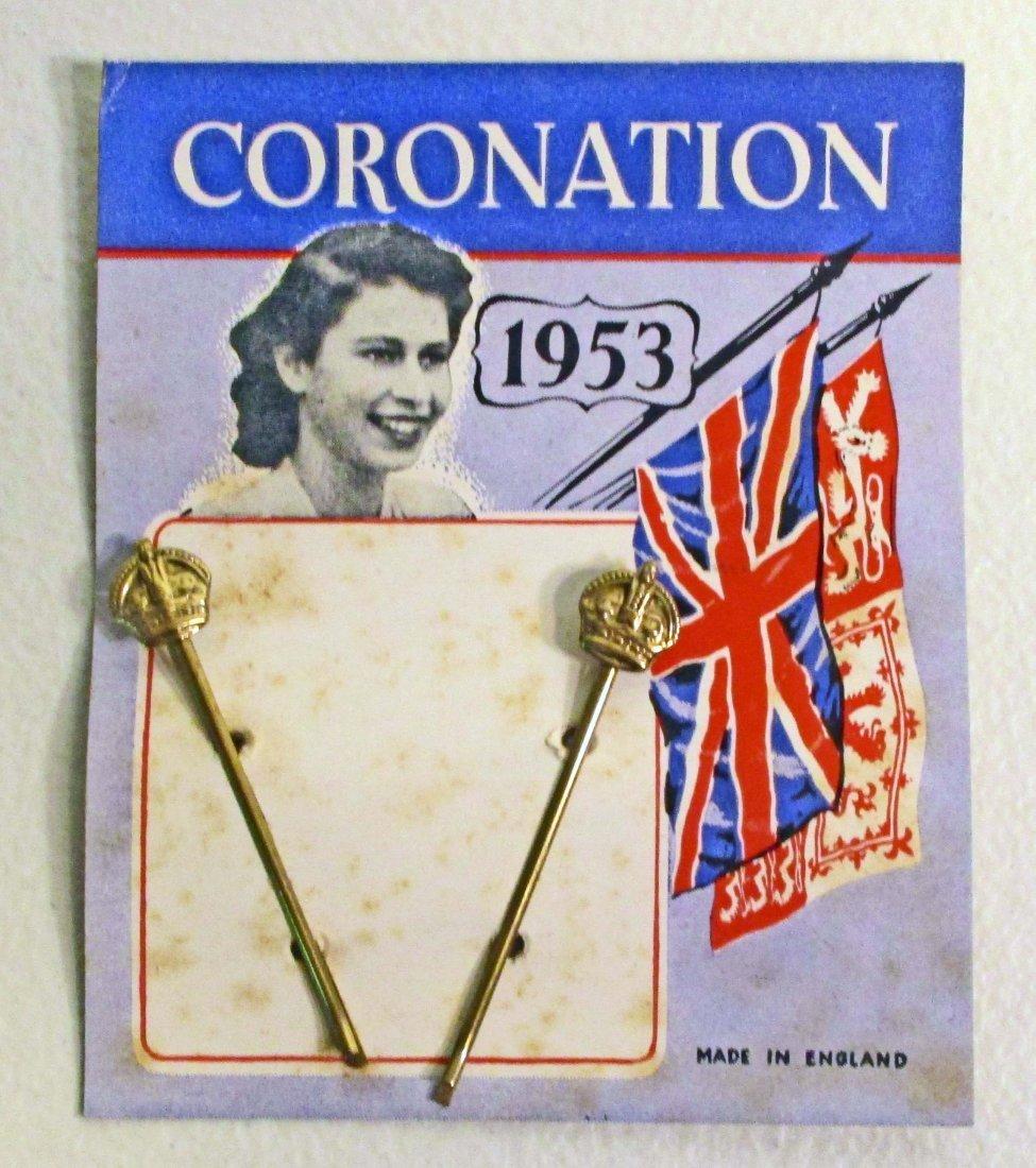 VINTAGE 1953 QUEEN ELIZABETH CORONATION BOBBY PINS ON