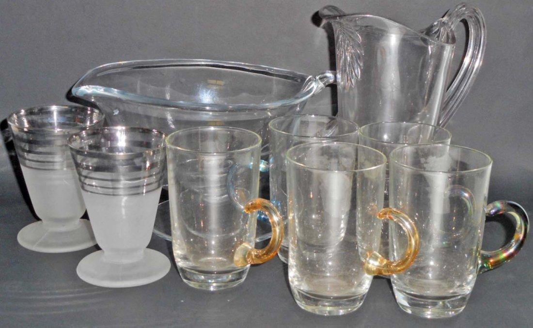 LOT OF 9 PCS OF VINTAGE GLASSWARE