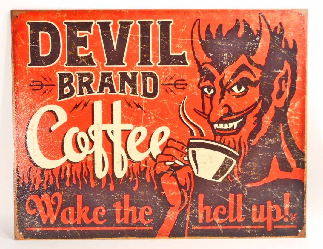 DEVIL BRAND COFFEE METAL ADVERTISING SIGN - 12.5X16