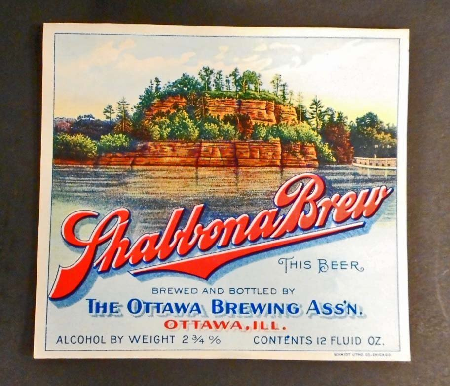 RARE EARLY SHABBONA BREW BEER BOTTLE LABEL