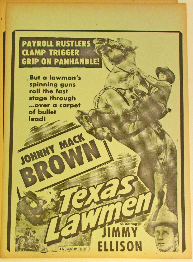 VINTAGE 1940S COWBOY WESTERN MOVIE POSTER BROADSIDE