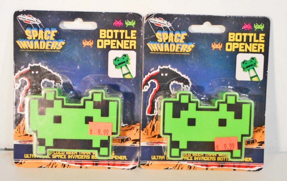 LOT OF 2 NEW SPACE INVADERS BOTTLE OPENERS