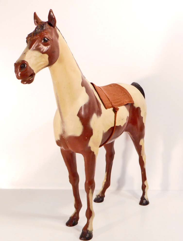 VINTAGE MARX STORM CLOUD PINTO TOY HORSE - JOHNNY WEST