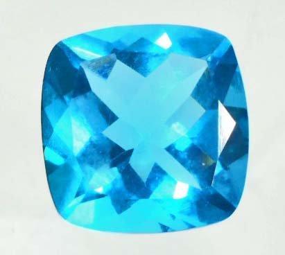 13.4 CT SWISS BLUE QUARTZ - CUSHION CUT