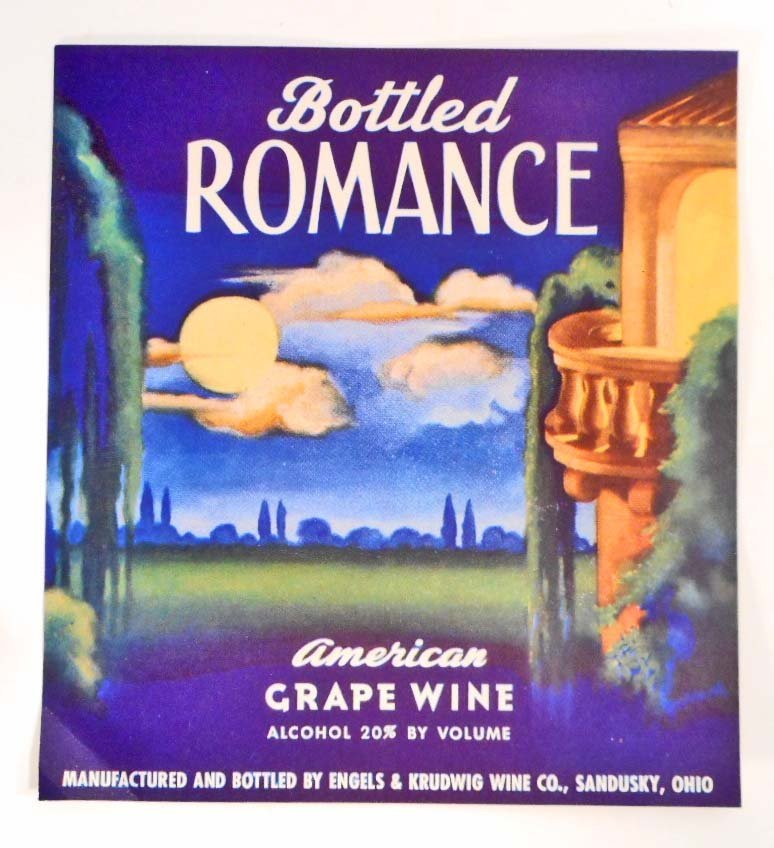 VINTAGE BOTTLED ROMANCE AMERICAN GRAPE WINE LABEL