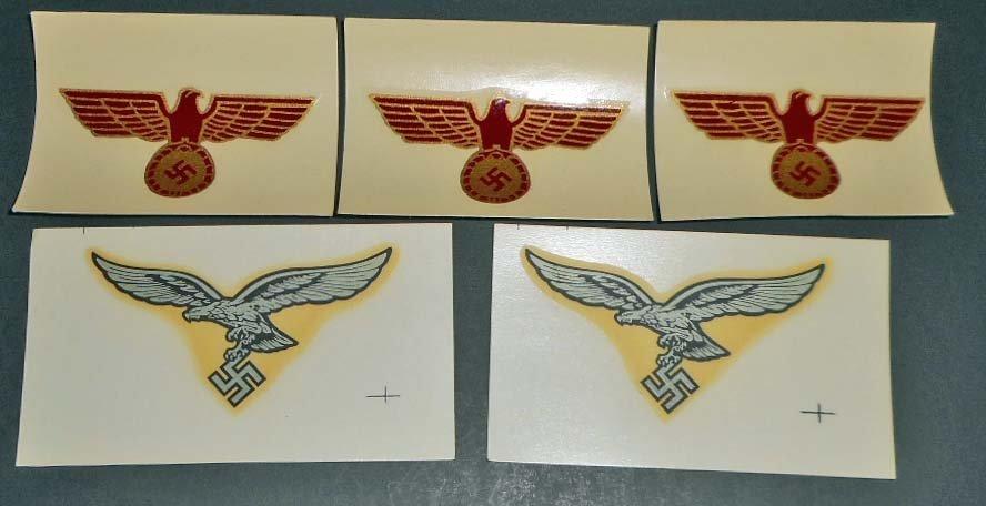 LOT OF 5 GERMAN NAZI MILITARY COMBAT HELMET DECALS