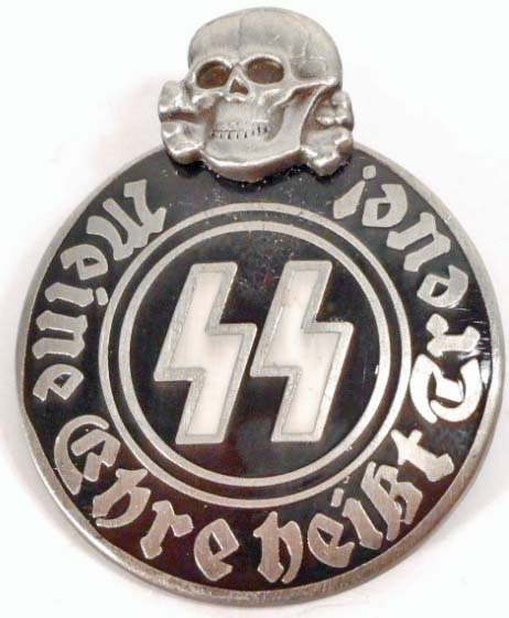 GERMAN NAZI WAFFEN SS SKULL & RUNIC MEMBER BADGE