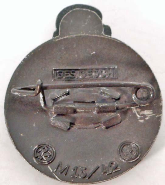 GERMAN NAZI WAFFEN SS SKULL & RUNIC MEMBER BADGE - 2