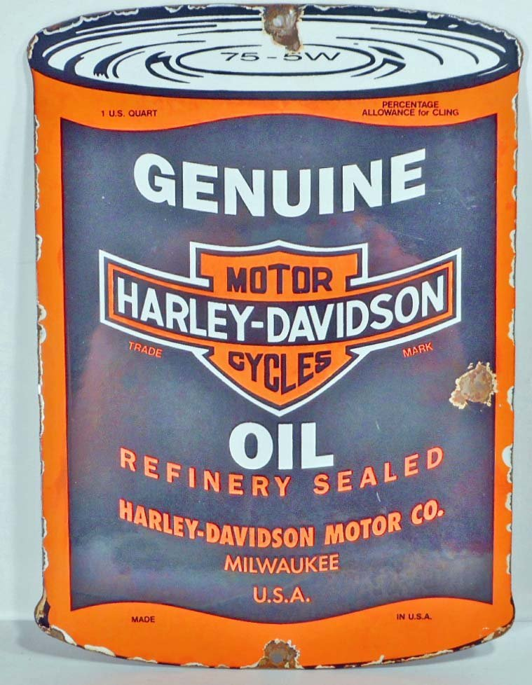 VINTAGE HARLEY DAVIDSON HD OIL CAN PORCELAIN