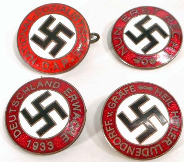 LOT OF 4 GERMAN NAZI ENAMELED POLITICAL PARTY BADGES
