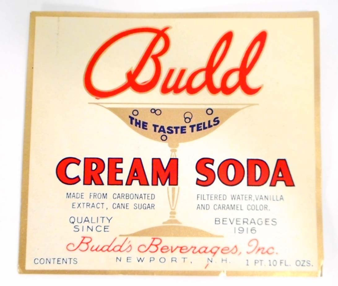 VINTAGE BUDD CREAM SODA ADVERTISING BOTTLE LABEL