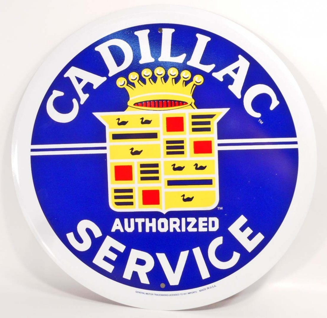 CADILLAC SERVICE ADVERTISING ROUND TIN SIGN