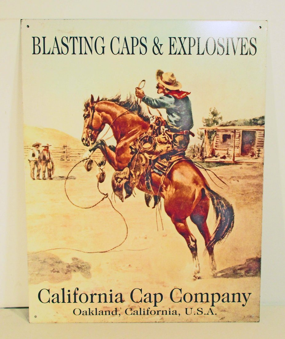 CALIFORNIA CAP EXPLOSIVES ADVERTISING METAL SIGN