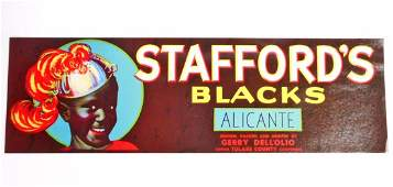 VINTAGE BLACK AMERICANA STAFFORDS GRAPE CRATE LABEL