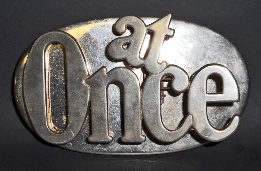 "VINTAGE ""AT ONCE"" PAPER WEIGHT / PAPER CLIP HOLDER"
