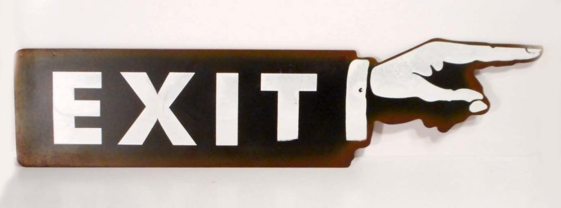 DIE-CUT METAL FINGER POINTING EXIT SIGN