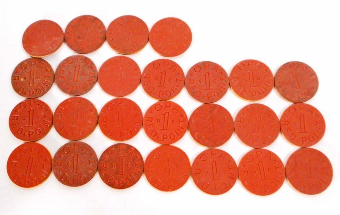 LOT OF APPROX. 25 WW2 WWII OPA RED POINT RATION TOKENS