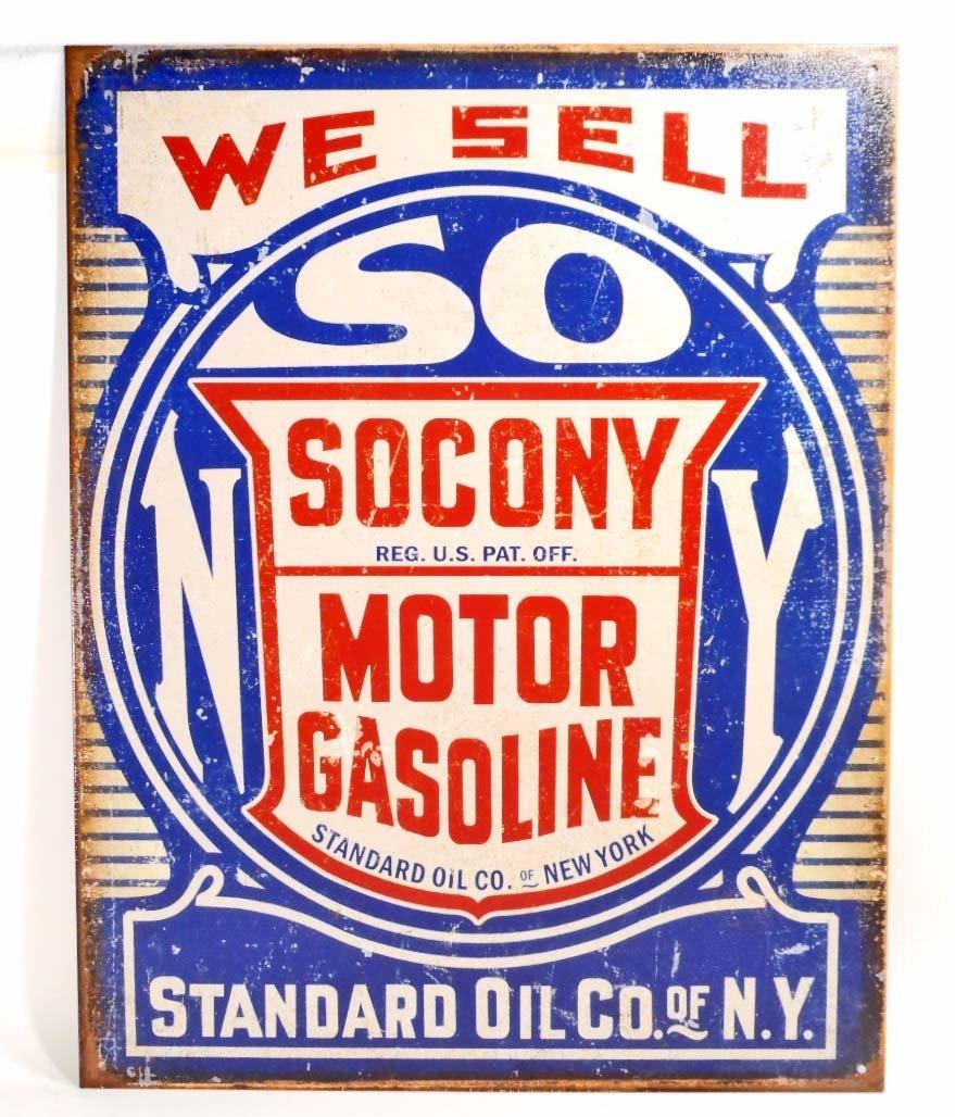 SOCONY MOTOR GASOLINE METAL ADVERTISING SIGN - 12.5X16