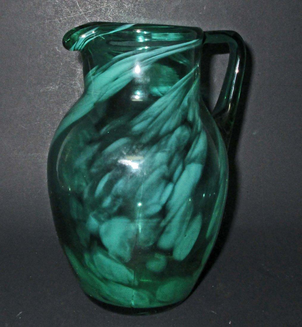 VINTAGE GREEN HAND BLOWN SWIRL ART GLASS PITCHER