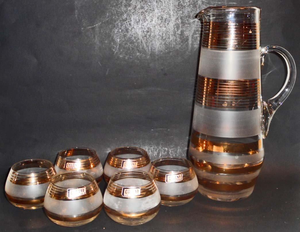 VINTAGE CZECH ART GLASS PITCHER AND 6 GLASS SET