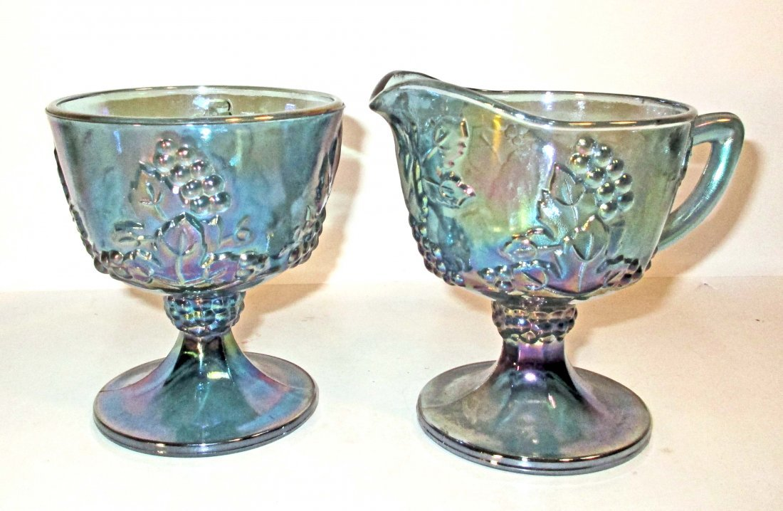 VINTAGE CARNIVAL GLASS CREAM AND SUGAR