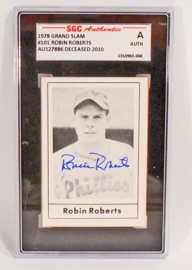 1978 GRAND SLAM ROBIN ROBERTS #101 AUTOGRAPHED BASEBALL