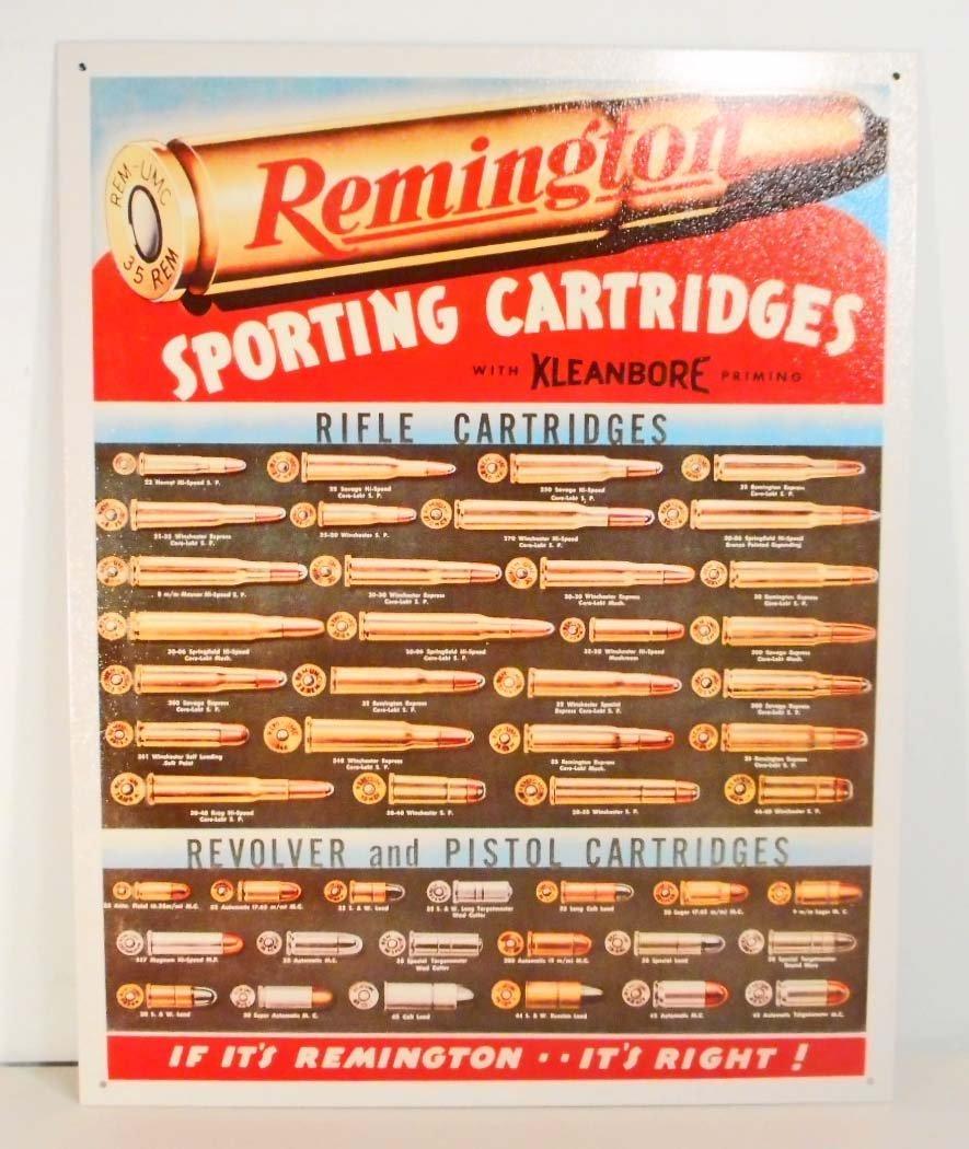 REMINGTON AMMO METAL ADVERTISING SIGN - 12.5X16