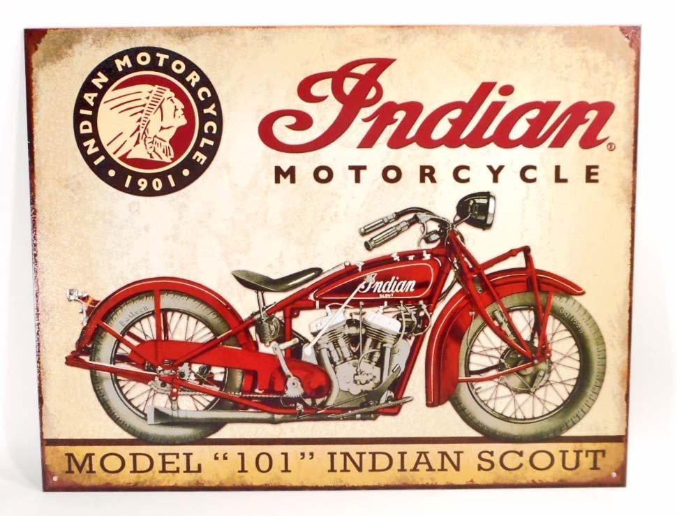 INDIAN MOTORCYCLES METAL ADVERTISING SIGN - 12.5X16