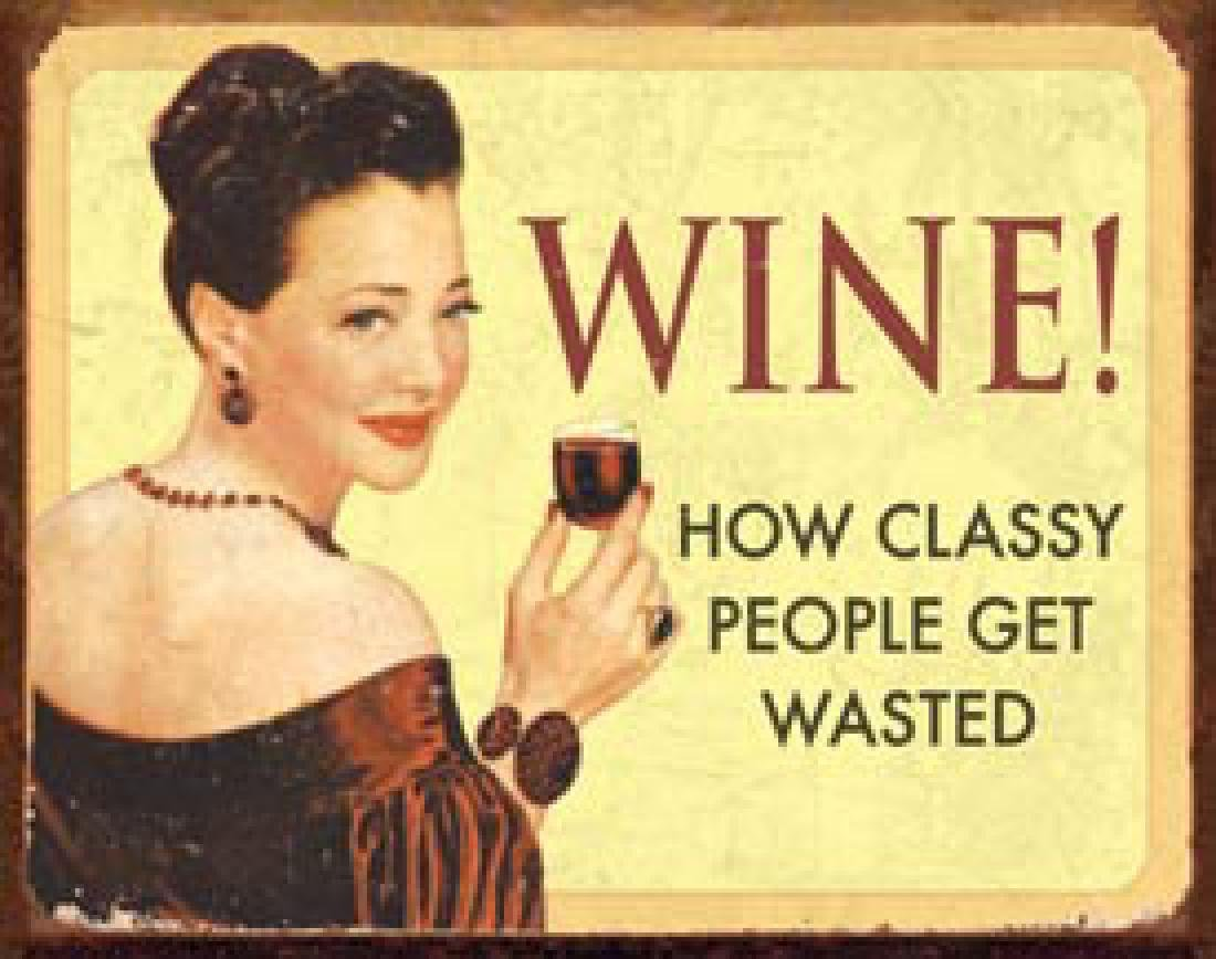 "FUNNY WINE METAL SIGN 12.5"" X 16"""