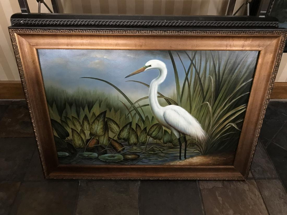 C. WALTER SIGNED ORIGINAL OIL PAINTING WHITE BIRD