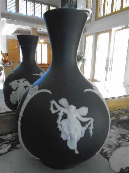 Wedgwood Vase Grey Colored With White Angels Motif